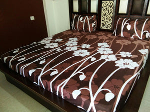 Big White Tulips on Brown Fitted BedSheet