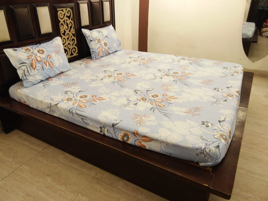 Intricate Leaf Design on Beautiful Light Blue Fitted BedSheet