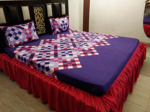 White Checks on Blue Fitted BedSheet with Frills