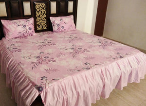 Intricate Leaf Design on Beautiful Light Pink Fitted BedSheet with Frills