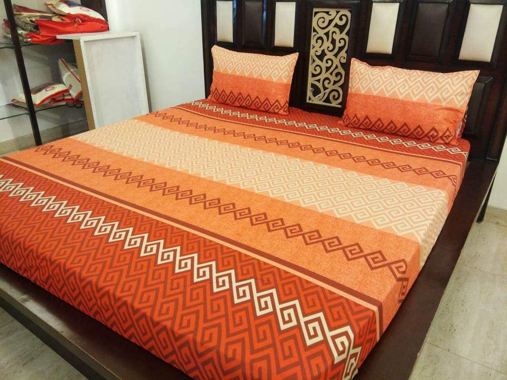 Shades of Orange Fitted BedSheet