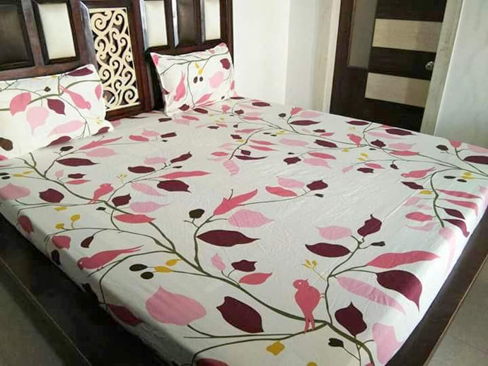 Pink Tree Pattern Fitted BedSheet