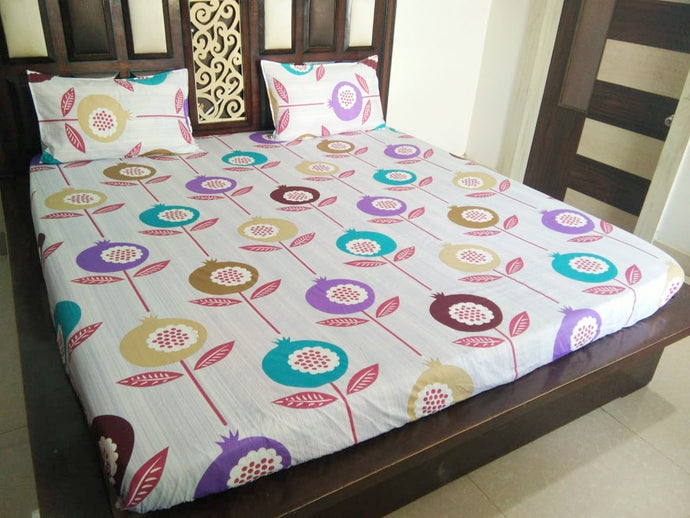 Multi Color Flower on White Fitted BedSheet