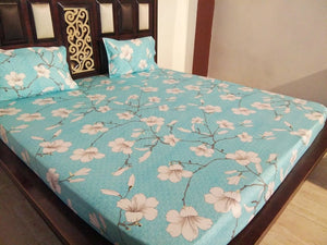 Blue White Lily Fitted bedSheet