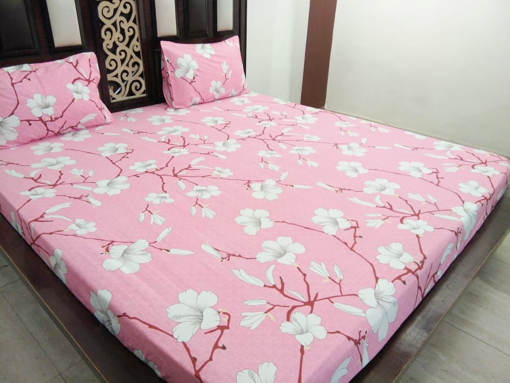 Pink White Lily Fitted BedSheet