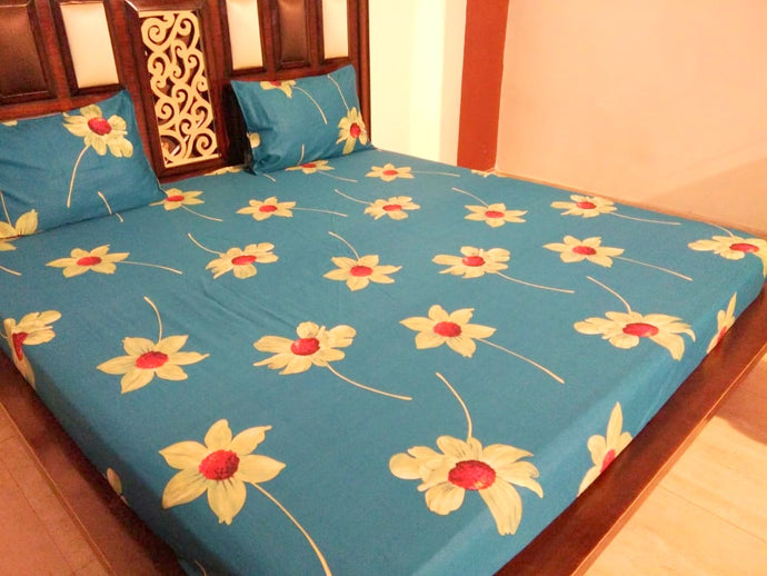 Big White Flowers on Blue Fitted BedSheet