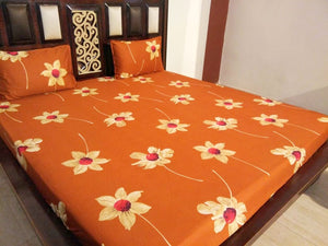 Big White Flowers on Brown Fitted BedSheet