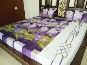 Big Green Leaves with Lily Flower on Violet Fitted BedSheet