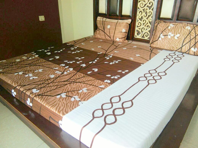 Beautiful Shades of Brown with White Stems Fitted BedSheet