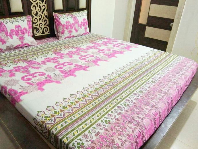 Beautiful Pink Design on White Fitted BedSheet