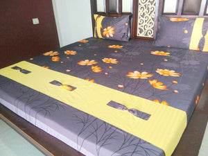 Orange Flowers on Deep Blue Fitted BedSheet
