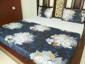Beautiful White Bouquet on Deep Blue  Fitted BedSheet