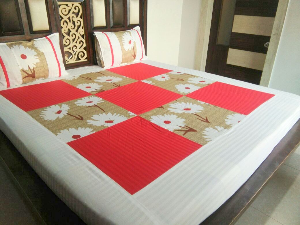 Red Squares and White Flowers  Fitted BedSheet