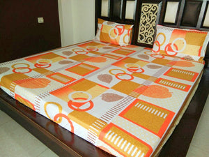 Yellow & Orange Pattern with Leaves & Rings Fitted BedSheet