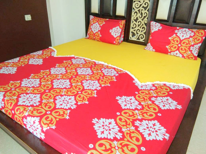 Rangoli Pattern on Orange and Yellow Fitted BedSheet