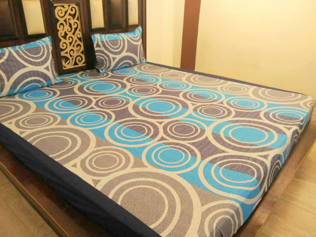 Rings on Blue and Grey Fitted BedSheet