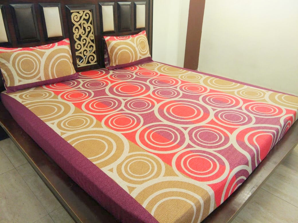Rings on Orange and Brown Fitted BedSheet