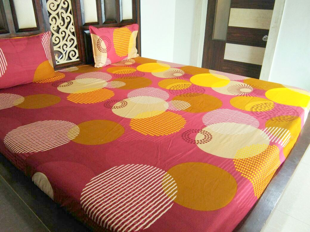 Big Energy Circle on Maroon Fitted BedSheet