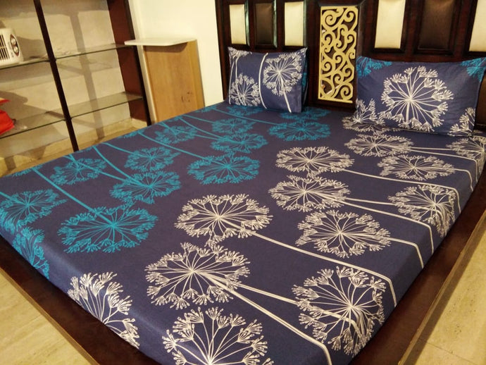Lighting Glow on Deep Blue Fitted BedSheet