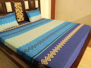 Shades of Blue ZigZag Pattern Fitted BedSheet