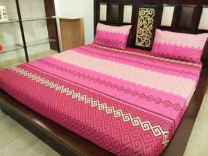 Shades of Pink ZigZag Pattern Fitted BedSheet