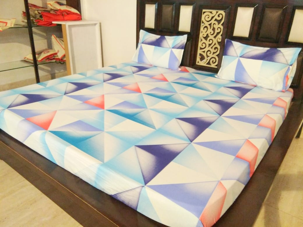 Shades of Blue Geometric Pattern Fitted BedSheet