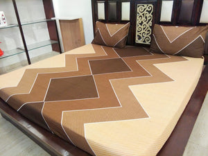 Shades of Brown Transmission Fitted BedSheet