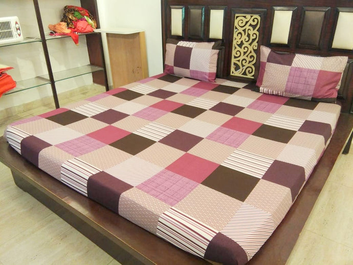 Check Pattern - Shades of Brown Fitted BedSheet