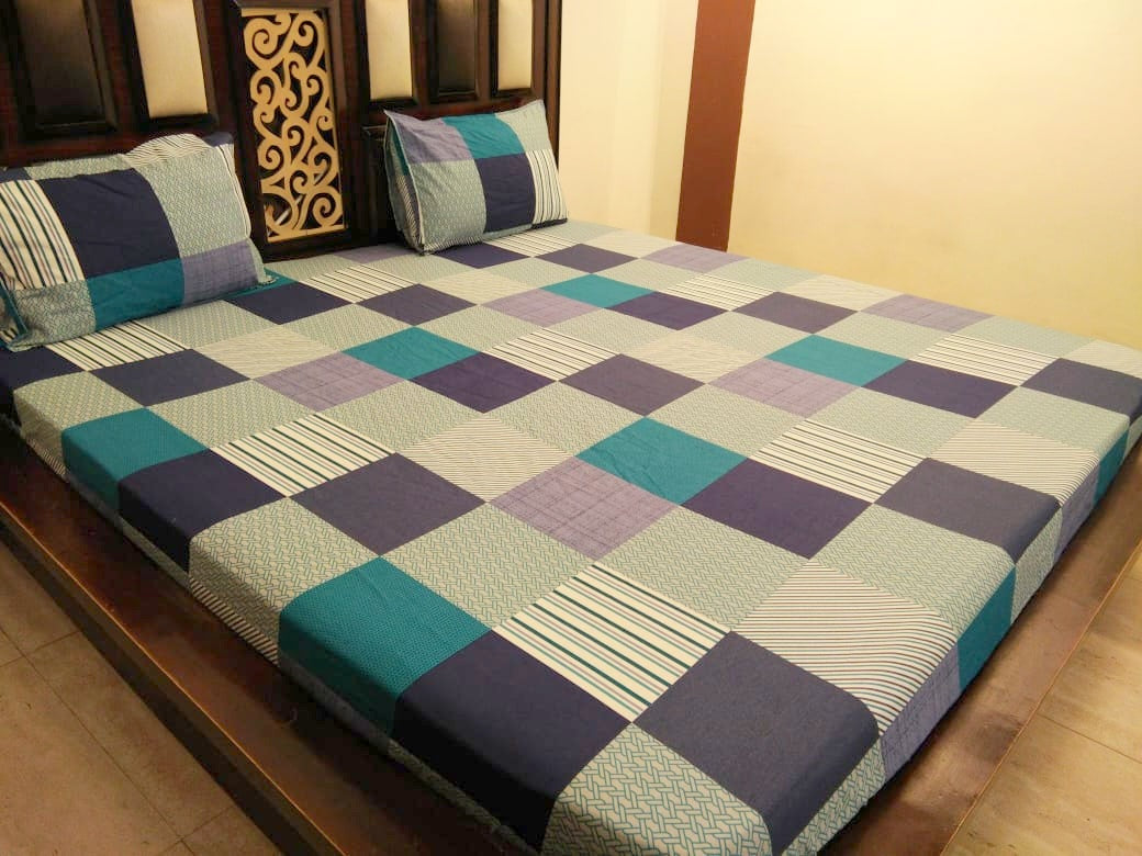 Check Pattern - Shades of Green Fitted BedSheet