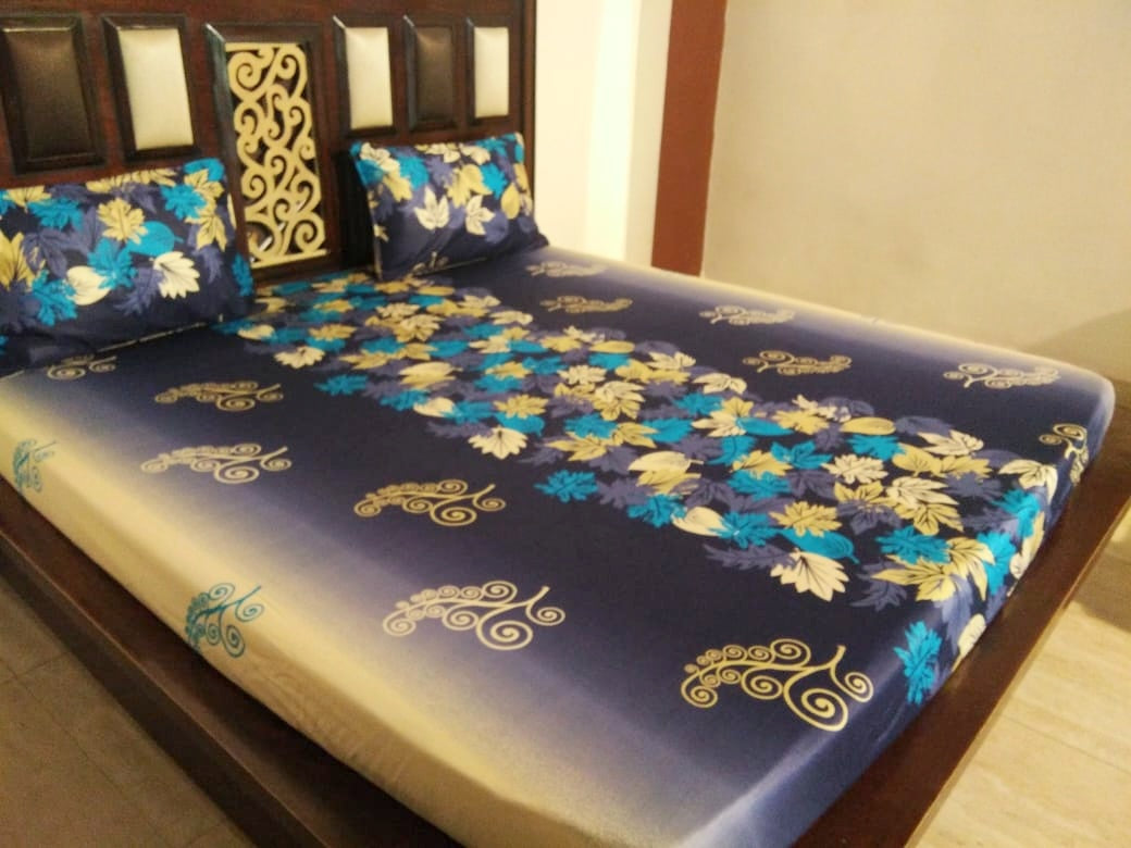 Shades of Blue Flowers Fitted bedSheet