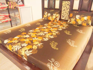 Autumn Leaves on Brown Fitted BedSheet