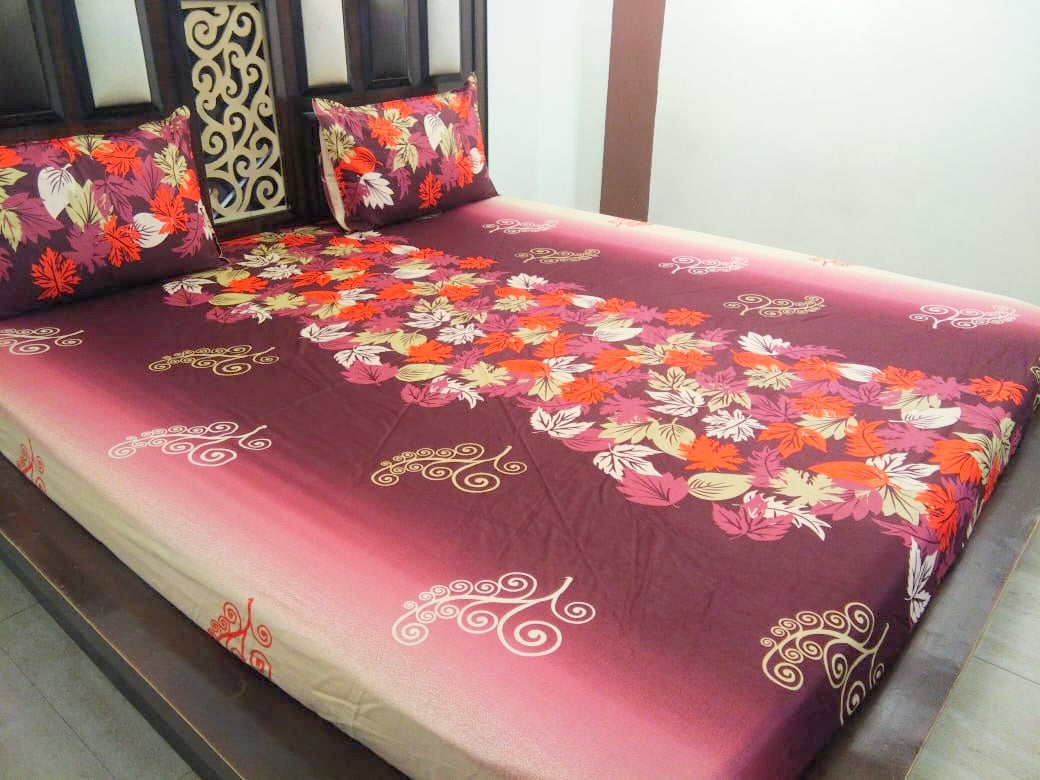 Autumn Leaves on Maroon Fitted BedSheet