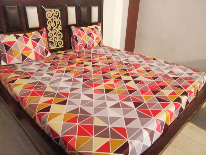 Multicolor Triangle Pattern Fitted BedSheet