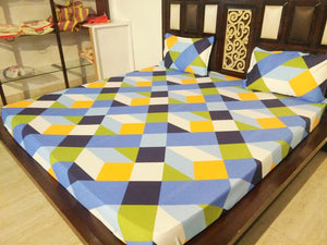 Multicolor Diagonal Stripe Pattern Fitted BedSheet