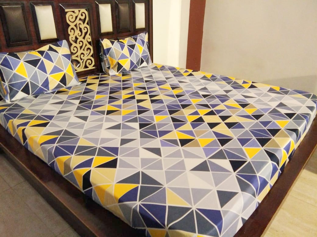 Yellow Blue Triangle Pattern Fitted BedSheet