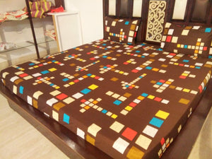 Multicolor Square Pattern on Brown Fitted BedSheet