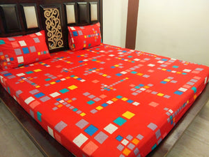 Multicolor Squares on Red Fitted BedSheet