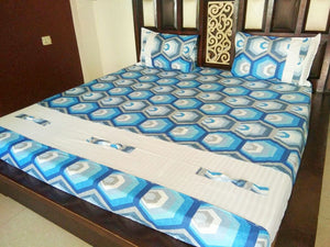 Blue & White Hexagon Pattern Fitted BedSheet