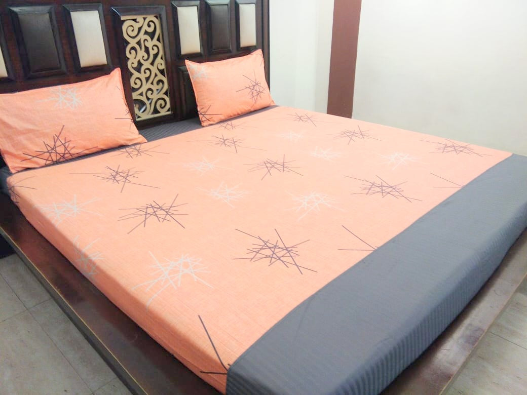 Scrible Pattern on Beautiful Orange Fitted BedSheet