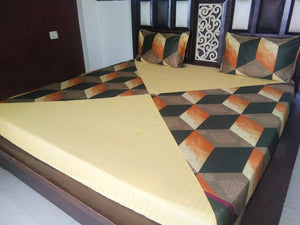 Brown Prism Block Pattern Fitted bedSheet