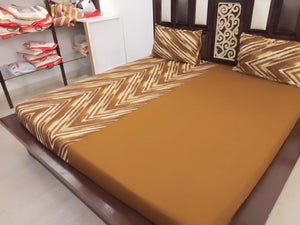 ZigZag and Plain Brown Pattern Fitted BedSheet