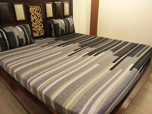 Shades of Grey Stripes Pattern Fitted BedSheet