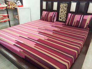 Maroon Pink Shades Fitted BedSheet