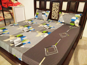 Grey Maze Pattern Fitted BedSheet