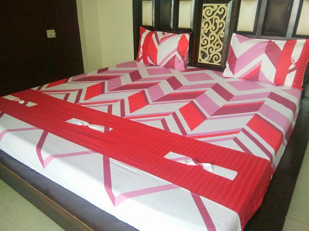 ZigZag Pink Block Pattern Fitted BedSheet
