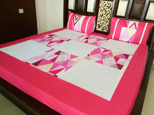 Square Pattern in White and Pink Fitted BedSheet