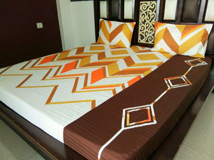 Multi Color Zigzag Pattern Fitted BedSheet