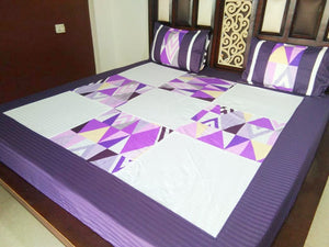Square Pattern in White and Violet Fitted BedSheet