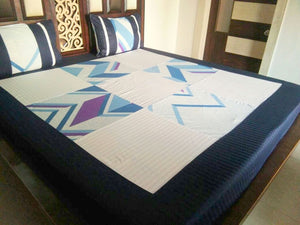 Square Pattern in White and Blue Fitted BedSheet