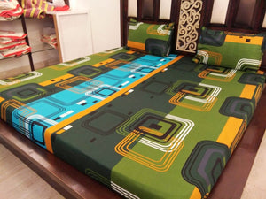 Multi Color Square Pattern Fitted bedSheet